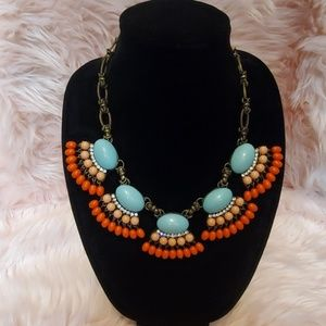 Blue and Orange Chunky Statement Necklace
